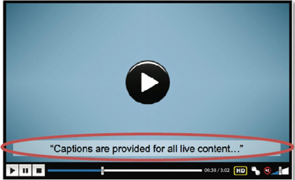 Provide captions for all live audio content in synchronized media