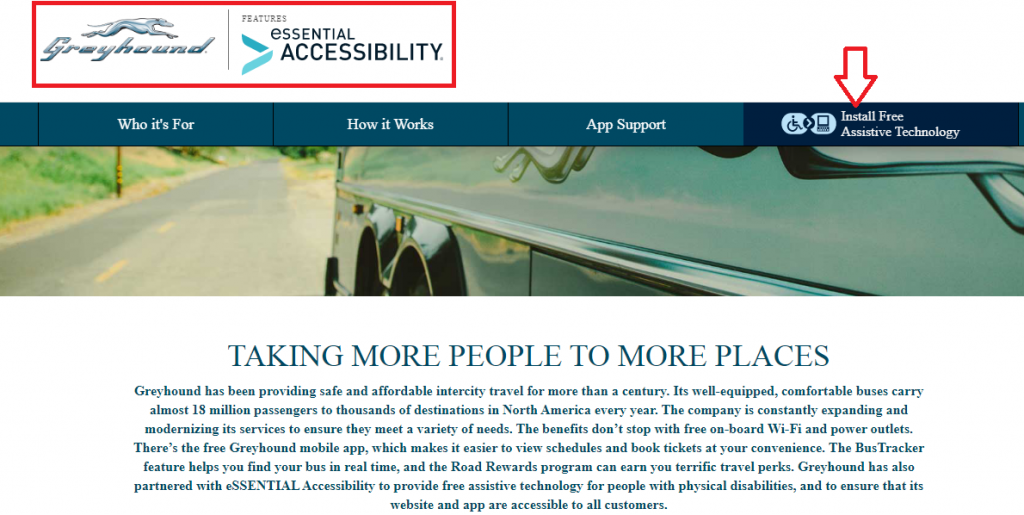 essential accessibility and Greyhound's landing page
