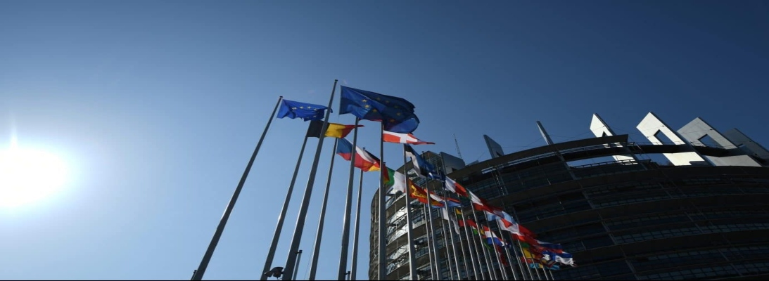 European Commission and flag of its member countries in the EU Headquarter In Brussels