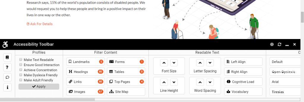 Accessibility toolbar is opened