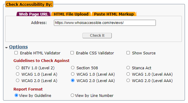 accessibility testing tool that allows you select standard to test against