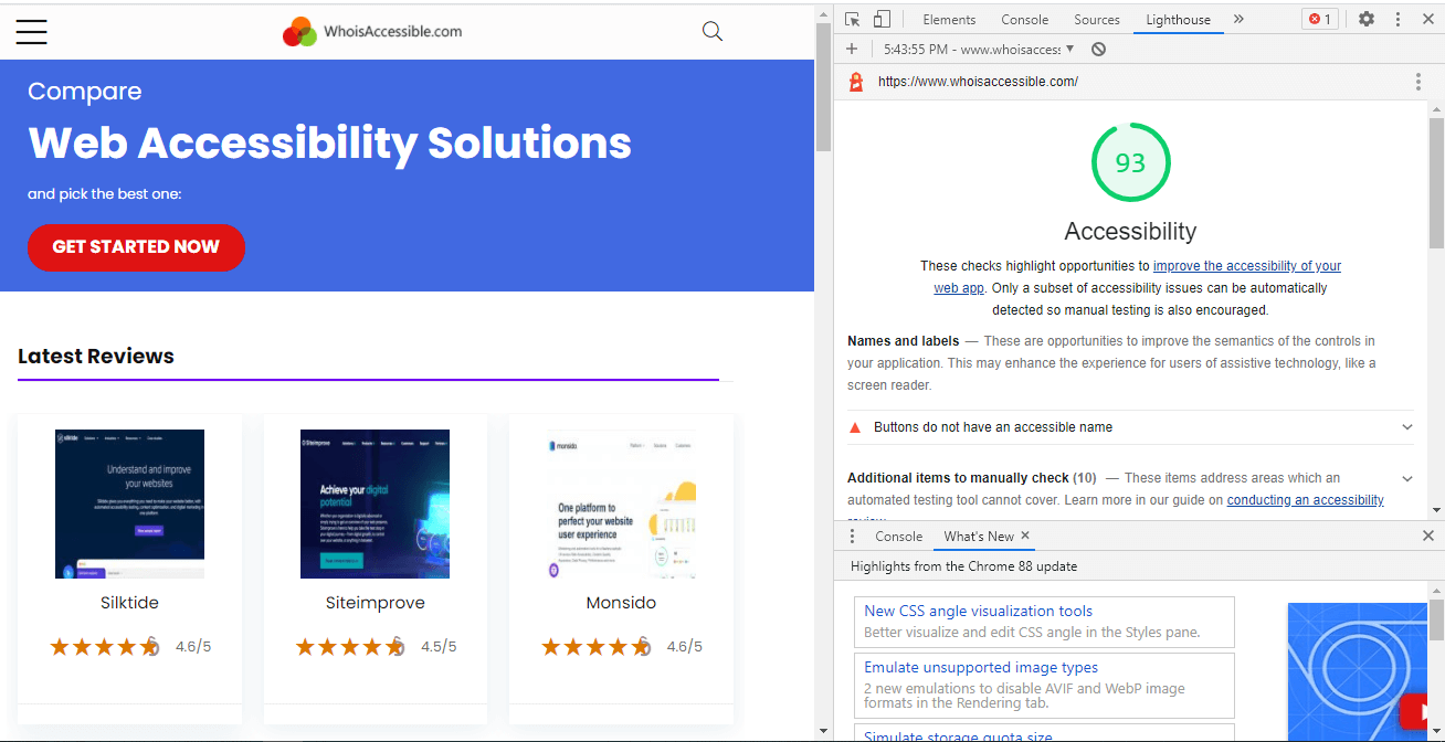 Audit report of whoisaccessible.com using Chrome DevTools