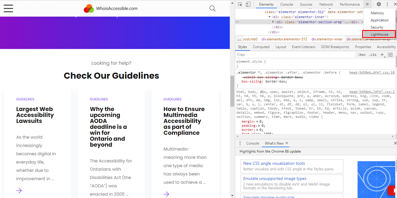 accessing Lighthouse Chrome Dev Tools from whoisaccessible home page