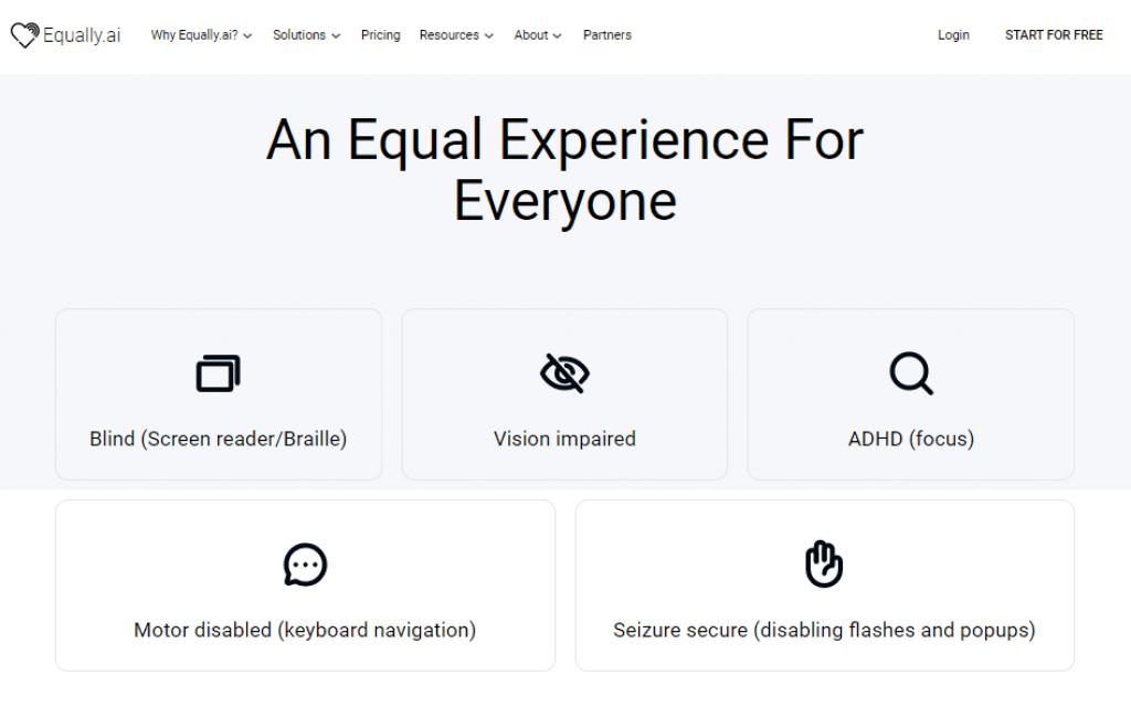 Equally AI's accessibility profiles